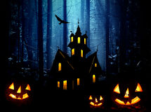 Halloween in forest. Night Royalty Free Stock Photo