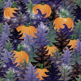 Halloween forest seamless pattern, vector. Illustration Royalty Free Stock Images