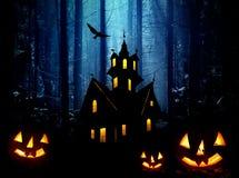 Halloween in foresta. Notte Fotografia Stock Libera da Diritti