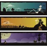 halloween för 3 baner set Fotografering för Bildbyråer