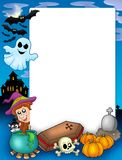 Halloween frame 1. With various objects - color illustration Stock Image