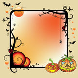 Halloween frame. Abstract background with black frame, branches with leaves, spiders, ladybirds, butterflies, bats, small bubbles and two pumpkins. Halloween Stock Photo