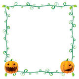 Halloween Frame. Beautiful floral Halloween Frame (banner) with pumpkins Stock Images