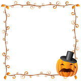 Halloween Frame 2. Beautiful floral Halloween Frame (banner) with pumpkins Royalty Free Stock Photo