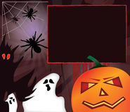 Halloween frame. Spooky halloween frame design with pumpkin, ghosts, monster and spiders. With copy space for your text or photo Royalty Free Stock Photography
