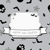 Halloween frame. Black and white halloween decoration with frame and ribbon Stock Images