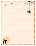Halloween frame. Illustration of a orange and black Halloween frame with spider, scary cat and a bats with happy halloween text on background Stock Photography