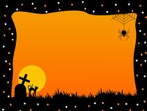 Halloween frame. Illustration of a orange and black Halloween frame with spider, graves and a cat Stock Photography