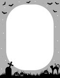 Halloween frame. Illustration of a grey and black Halloween frame with pumpkins,bats,graves and a cat Royalty Free Stock Image