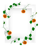 Halloween frame. Halloween pumpkin vines and white frame Vector Illustration