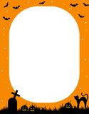 Halloween frame. Illustration of a orange and black Halloween frame with pumpkins,bats,graves and a cat Stock Images