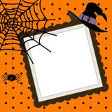Halloween Frame. Scalable vectorial image representing a halloween frame with spider web and witches hat Royalty Free Stock Photo