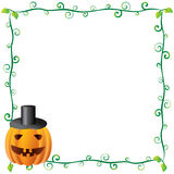 Halloween Frame 3. Beautiful floral Halloween Frame (banner) with pumpkins Stock Photos