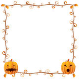 Halloween Frame 4. Beautiful floral Halloween Frame (banner) with pumpkins Stock Photography