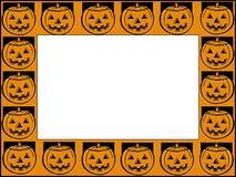 Halloween frame. Frame border of jack-o-lantern pumpkins vector illustration