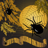 Halloween frame. With yellow moon , leaves, spiders and a web Stock Image