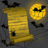 Halloween frame. With yellow moon, bats,spider and a web Stock Photography