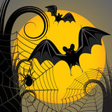 Halloween frame. With yellow moon, spider and a web Stock Images