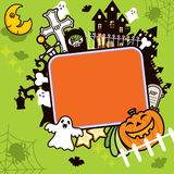 Halloween Frame Background. Signboard with halloween elements in cartoon style royalty free illustration