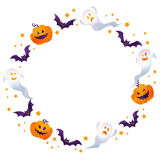 Halloween frame. Halloween background image by watercolor paint touch vector illustration
