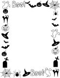Halloween frame / border. Illustration of a black and white Halloween frame with spider web, bats pumpkin ghost hat and gravestone on white background royalty free illustration