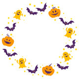 Halloween frame. Circle frame of cute halloween motiefs royalty free illustration