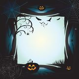 Halloween. Frame, copy space for text.  night background with pumpkin, bat, spider web, fantasy forest, haunted house and full moon. Poster or invitation Royalty Free Stock Photography