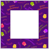 Halloween frame. Decorative Halloween frame on purple background Royalty Free Stock Photo