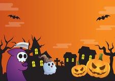 Halloween frame design green and cat. Theme Stock Photos