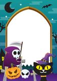 Halloween frame design green and cat. Theme Royalty Free Stock Photos