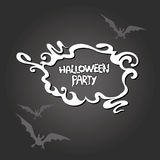 Halloween frame with a flying bat on a dark background. Royalty Free Stock Photo