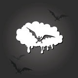 Halloween frame with a flying bat on a dark background. Stock Photography