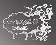 Halloween frame with a flying bat on a dark background. Royalty Free Stock Images