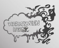 Halloween frame with a flying ghost and  bat on a dark background. Stock Image