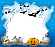 Halloween frame with ghosts 2 Stock Photo