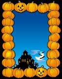Halloween frame with house Royalty Free Stock Images