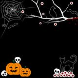 Halloween frame with net, bats and crown, vector illustration. Black backgrond royalty free illustration