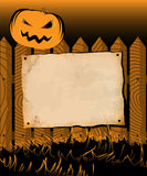 Halloween frame with poster and pumpkin Stock Photos