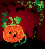 Halloween frame with pumpkin Stock Photo