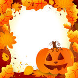 Halloween frame. With pumpkin and autumn leaves Stock Image