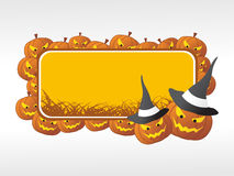 Halloween frame with pumpkin on the background stock photography