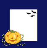 Halloween, frame with pumpkin and bats Stock Photos