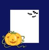 Halloween, frame with pumpkin and bats stock photos