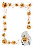 Halloween frame with pumpkins cartoon Royalty Free Stock Photos