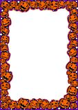 Halloween frame with pumpkins of different emotions stock illustration