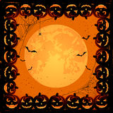 Halloween frame with pumpkins Royalty Free Stock Image