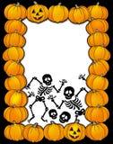 Halloween frame with skeletons. Color illustration Stock Images