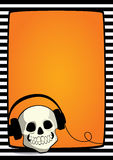 Halloween frame skull with headphones Royalty Free Stock Image