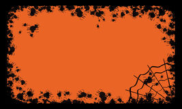 Halloween frame with spiders. Halloween illustration with spiders on orange background Royalty Free Stock Photo