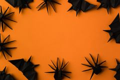Halloween frame with spiders and bats Royalty Free Stock Photos